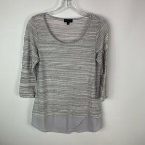 The Limited Womens Blouse Size Small Gray 3/4 Sleeve Thin Sweater Blouse Top